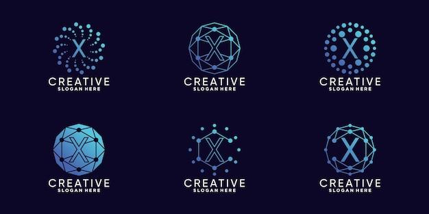Definir a letra x inicial da tecnologia de design de logotipo de monograma de pacote com vetor premium linear e de ponto