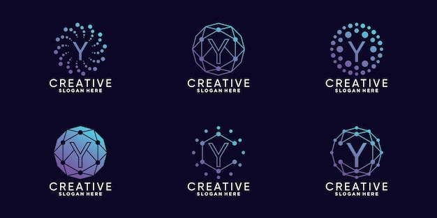 Definir a letra y inicial da tecnologia de design de logotipo de monograma de pacote com vetor premium linear e de ponto