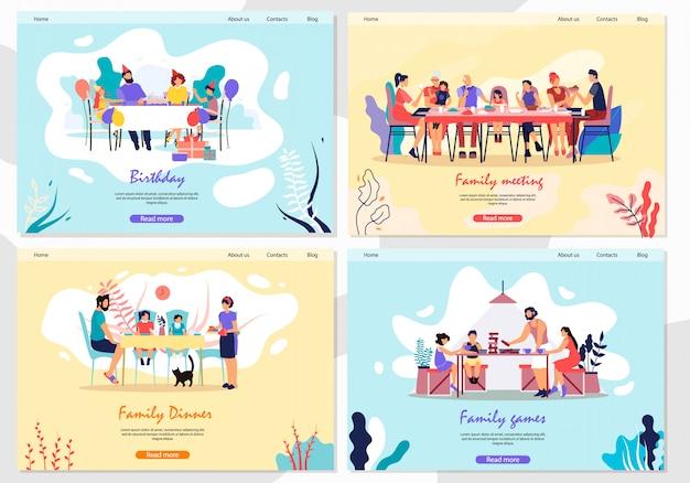 Definir a reunião familiar de banner, almoço e jogos plana.