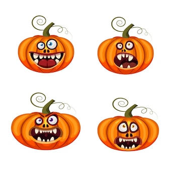 Definir abóboras halloween rostos engraçados bocas abertas assustador e assustador mandíbulas dentes criaturas expressão monstros personagens