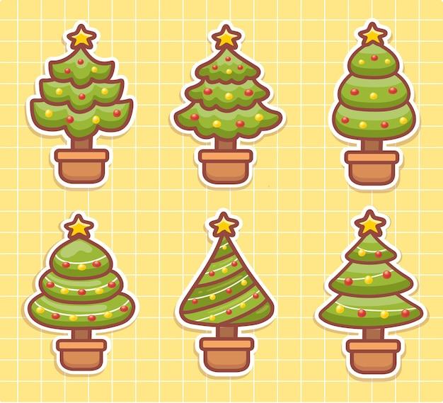 Definir adesivos de vetor de árvore de natal fofa. árvore de natal de várias formas. estilo kawaii