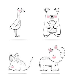 Definir adorável personagem de animal selvagem