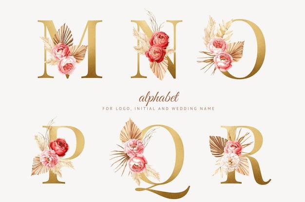 Definir alfabeto floral boho aquarela com letra dourada