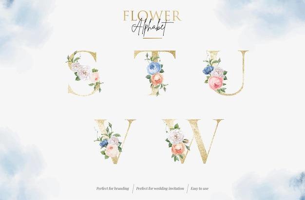 Definir alfabeto floral em aquarela com letra dourada