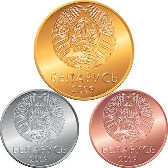 Definir anverso novas moedas de dinheiro bielorrusso