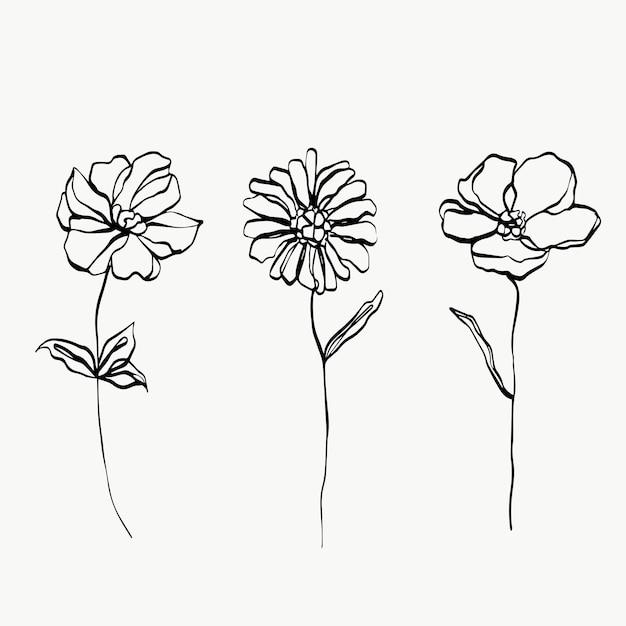 Definir arte em linha de flores. abstrato moderno ou mínimo. perfeito para decoração de casa, como pôsteres. desenho de ilustrações vetoriais.