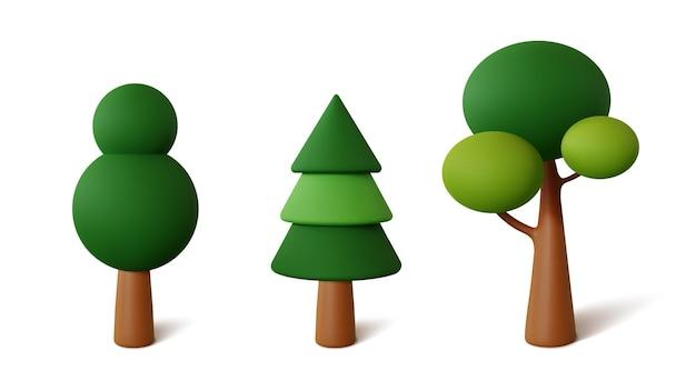 Definir árvores abstratas isoladas em um fundo branco. renderização 3d