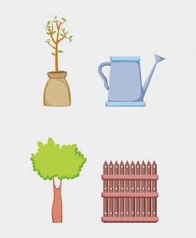 Definir árvores com grillage madeira e regador