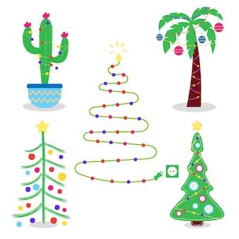 Definir árvores de natal criativas alternativas natal cacto palmeira costurada árvore de natal