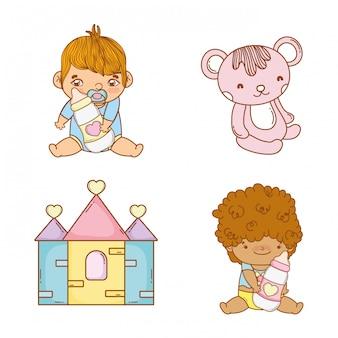 Definir baías de bebês com mamadeiras e pelúcia
