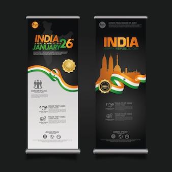 Definir banner de enrolar índia feliz dia da república