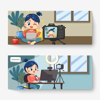 Definir banner de mulher adorável blogueira usando laptop e computador desktop trabalhando em casa