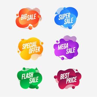 Definir banner de venda geométrica líquido colorido abstrato