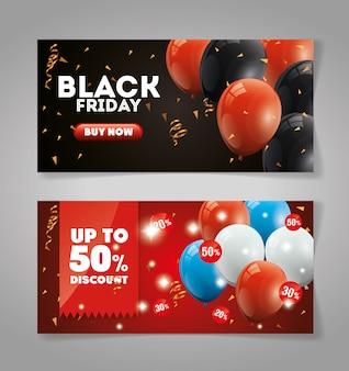 Definir banner preto sexta-feira com decoração de hélio de balões