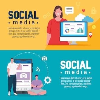 Definir banners de mídia social com design de ilustração de ícones