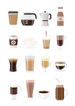 Definir bebidas de café. tipos de café isolado no fundo branco, em estilo simples. cafeteira, chocolate, café expresso, macchiato, cacau e frappe, americano, café com leite e cappuccino.