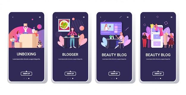 Definir blogueiros que gravam vloggers de vídeo on-line fazendo transmissão ao vivo transmitidos redes sociais redes conceito de blogs conceito smartphone telas coleção horizontal