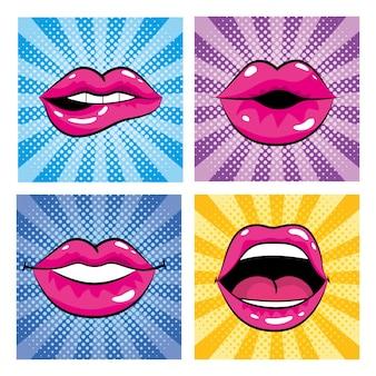 Definir boca pop art com dentes e língua