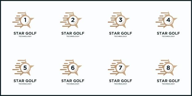 Definir bola estrela de golfe criativa e logotipo do esporte