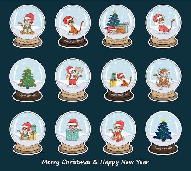 Definir bolas de natal de vidro de vetor em um carrinho. esfera de vidro branco com tigres é um símbolo do ano de acordo com o calendário chinês. estilo de desenho de ilustração vetorial