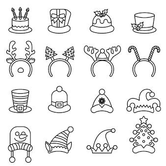 Definir bonés de carnaval de natal. chapéu de papai noel conjunto isolado.