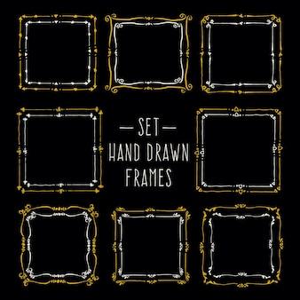 Definir bordas de linha desenhada à mão quadros de desenho vetorial vintage para o seu modelo
