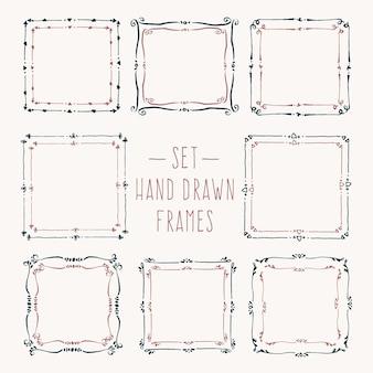 Definir bordas de linha desenhada à mão quadros de desenho vetorial vintage