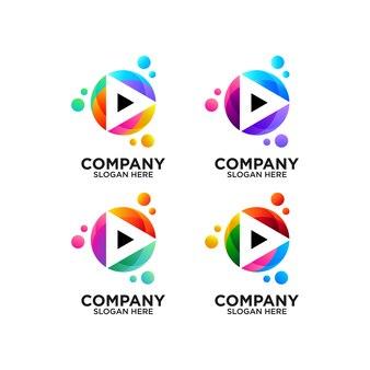 Definir botão play colorido com design de logotipo de bolhas