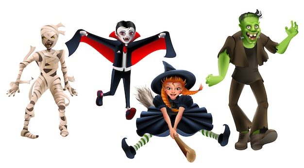 Definir bruxa de monstros de halloween na vassoura, frankenstein, vampiro drácula, múmia zumbi. isolado na ilustração branca dos desenhos animados