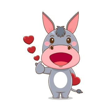 Definir burro fofo apaixonado