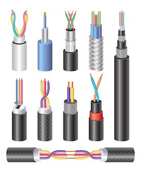 Definir cabo de fibra óptica industrial elétrico realista e fio de cobre isolados