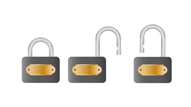 Definir cadeado. cadeado aberto e fechado. isolado em um fundo branco.
