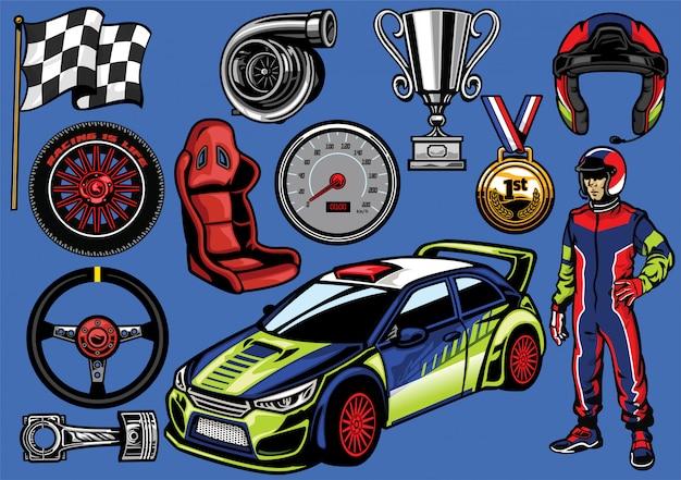 Definir carro de rally na versão colorida