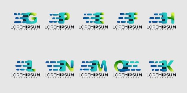 Definir carta moderna moderset com modelo de logotipo de conceito de logotipo de tecnologia