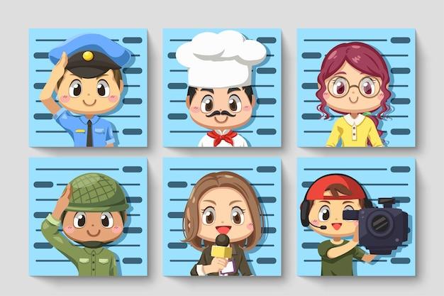 Definir cartão de pessoas em várias ocupações tire uma foto de identidade em personagem de desenho animado, ilustração plana isolada