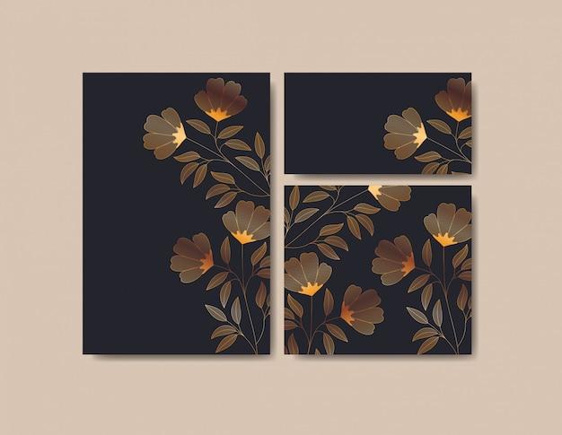 Definir cartões de convites com decoração floral