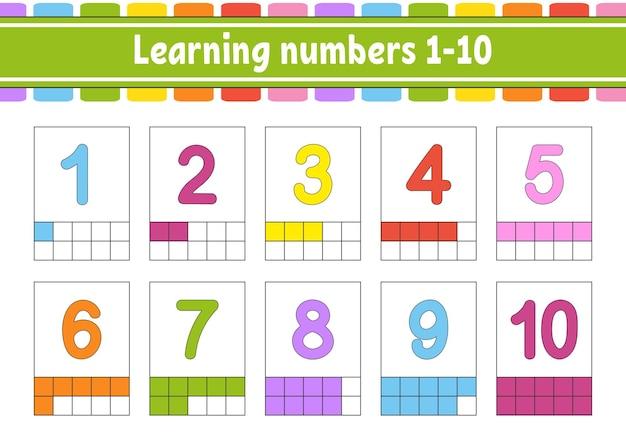 Definir cartões de memória para crianças aprendendo os números 110