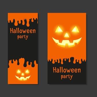 Definir cartões de modelo com convite para festas de halloween com espaço para texto