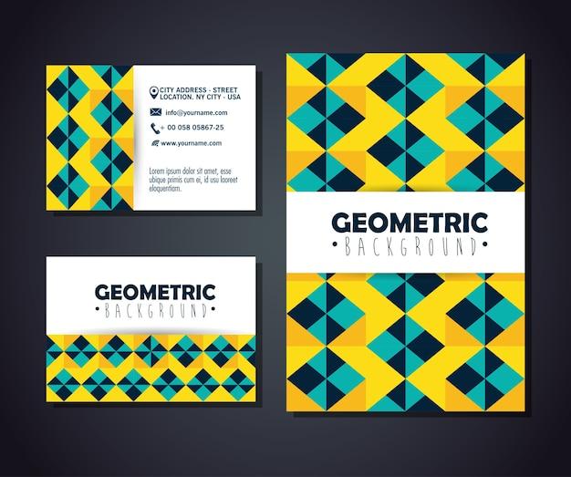 Definir cartões postais com figuras geometrics e cores
