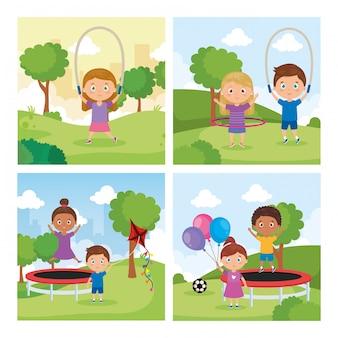 Definir cenas de crianças pequenas na paisagem do parque