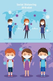 Definir cenas de crianças usando design de ilustração de máscara facial