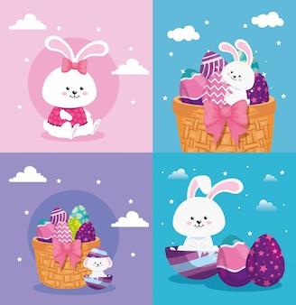 Definir cenas de feliz páscoa com decoração