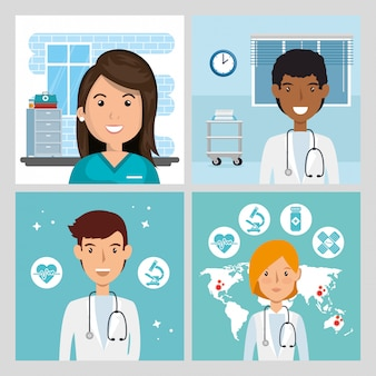Definir cenas de médicos e paramédico ilustração feminina