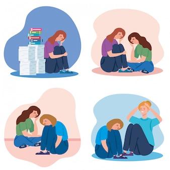 Definir cenas de mulheres sentadas com ataque de estresse