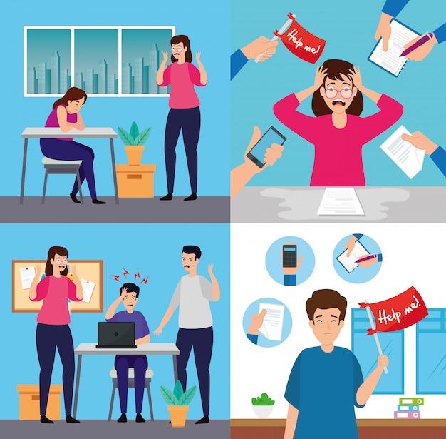 Definir cenas de pessoas com ataque de estresse, sobrecarregadas de trabalho no escritório