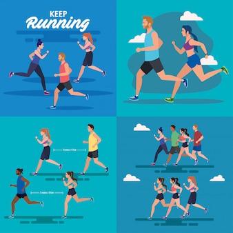 Definir cenas de pessoas correndo, pessoas correndo design ilustração