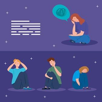 Definir cenas de pessoas sentadas com ataque de estresse