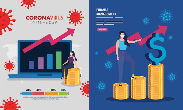 Definir cenas, recuperação de gestão financeira do mercado após covid-19, mulheres de negócios