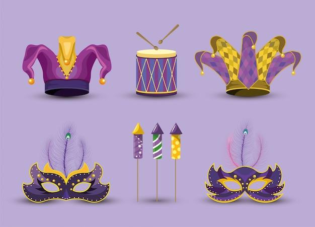 Definir chapéu de palhaço com máscaras e tambor para mardi gras