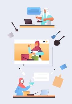 Definir chefs árabes preparando comida online cozinhar conceito de escola de culinária virtual ilustração vertical
